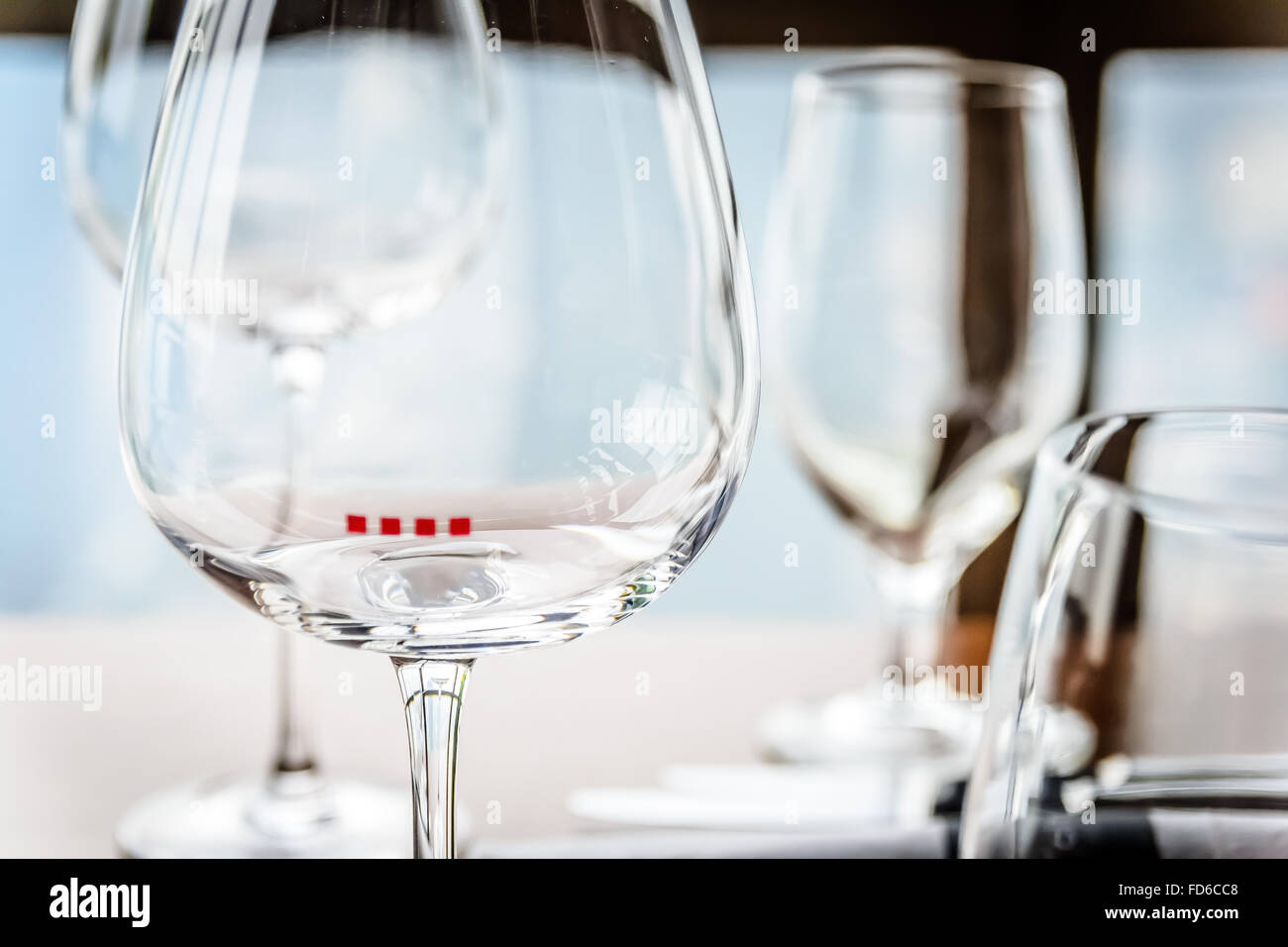 glassware and china in modern contemporary high class fine dining  - stock photo  glassware and china in modern contemporary high class finedining restaurant interior