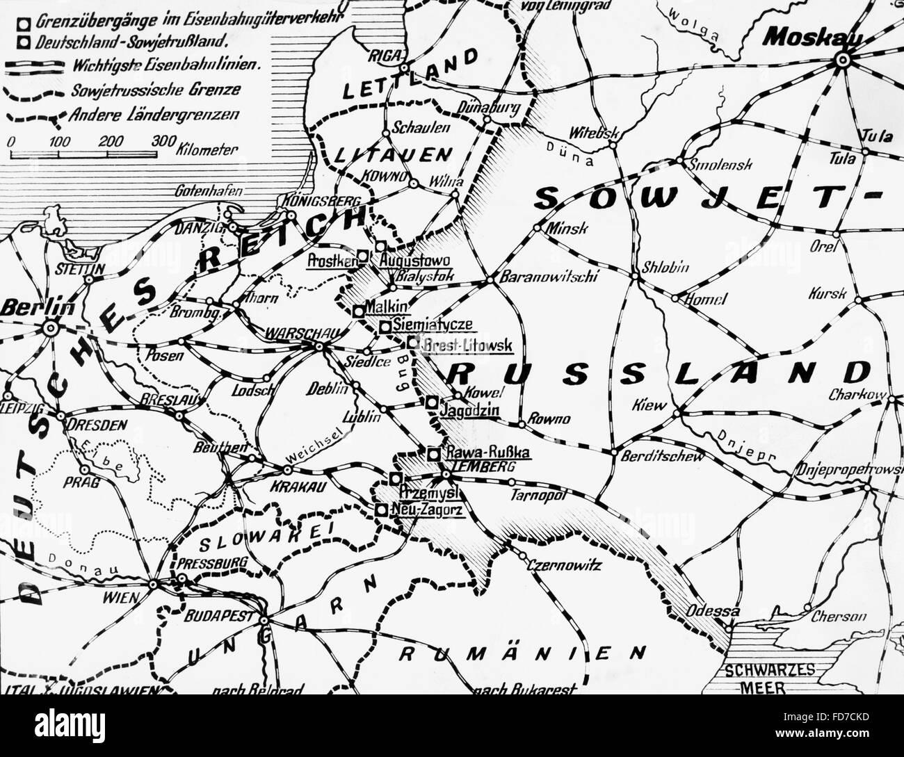Map of Eastern Europe GermanSoviet border 1940 Stock Photo