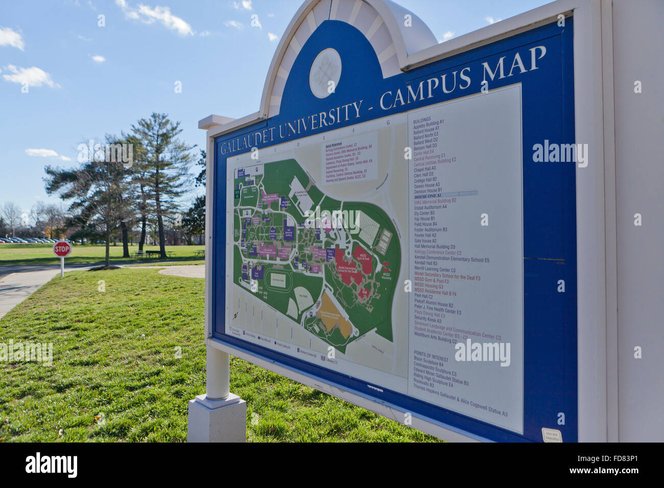 Gallaudet University campus map Washington DC USA Stock Photo