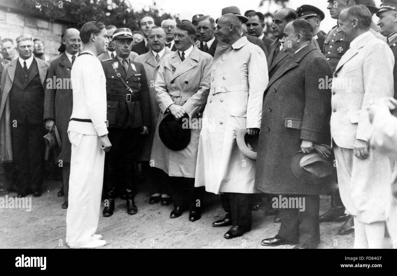 Gottfried von Cramm with Adolf Hitler and Wilhelm Frick 1936