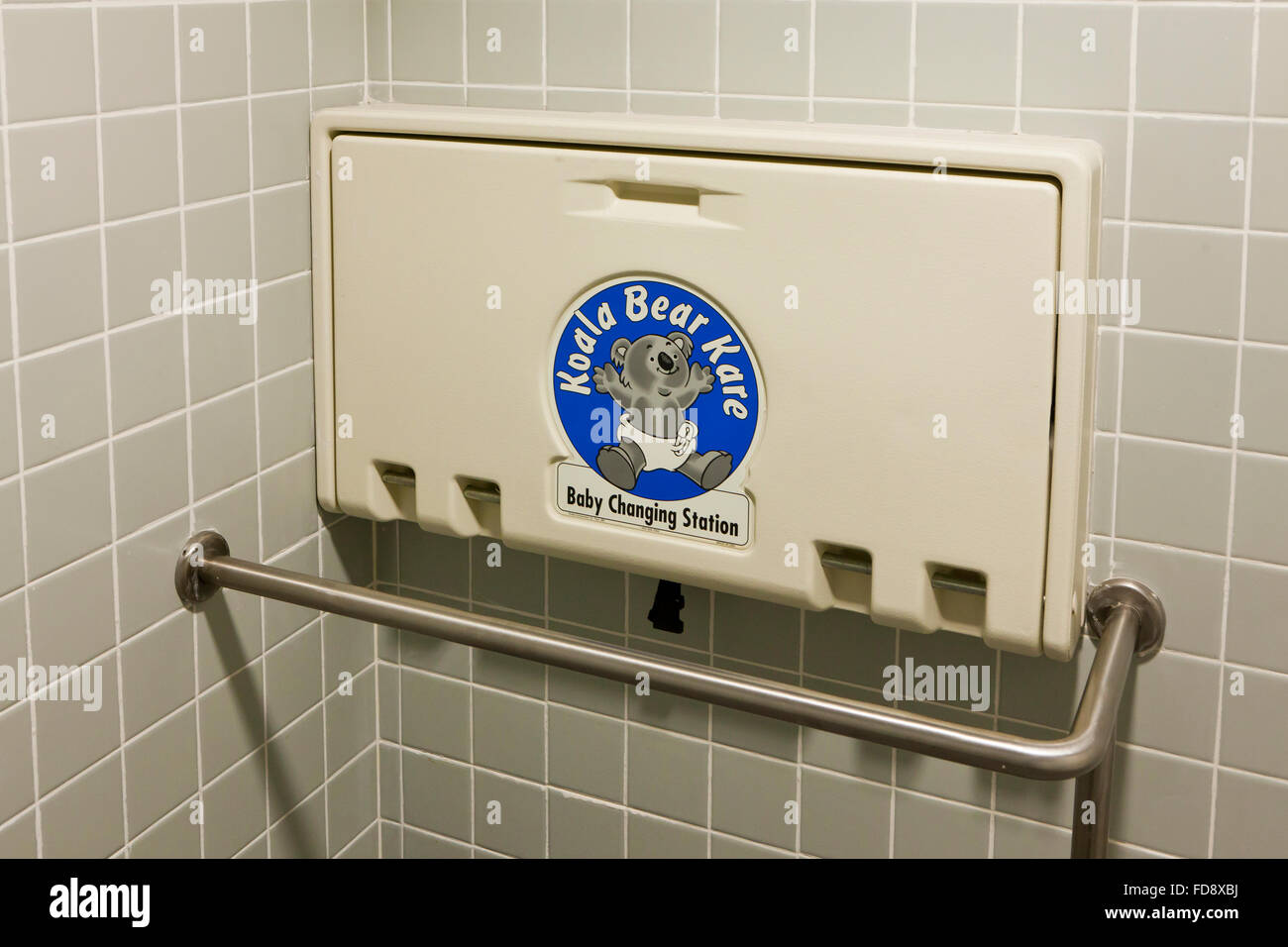 folding baby changing table in public restroom  usa stock photo  - folding baby changing table in public restroom  usa