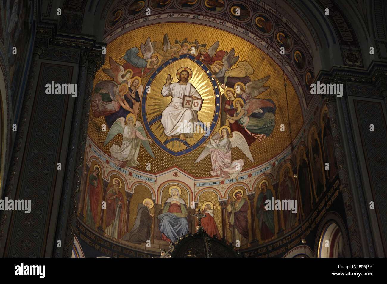 jesus christ surrounded by angels and the virgin mary with saints