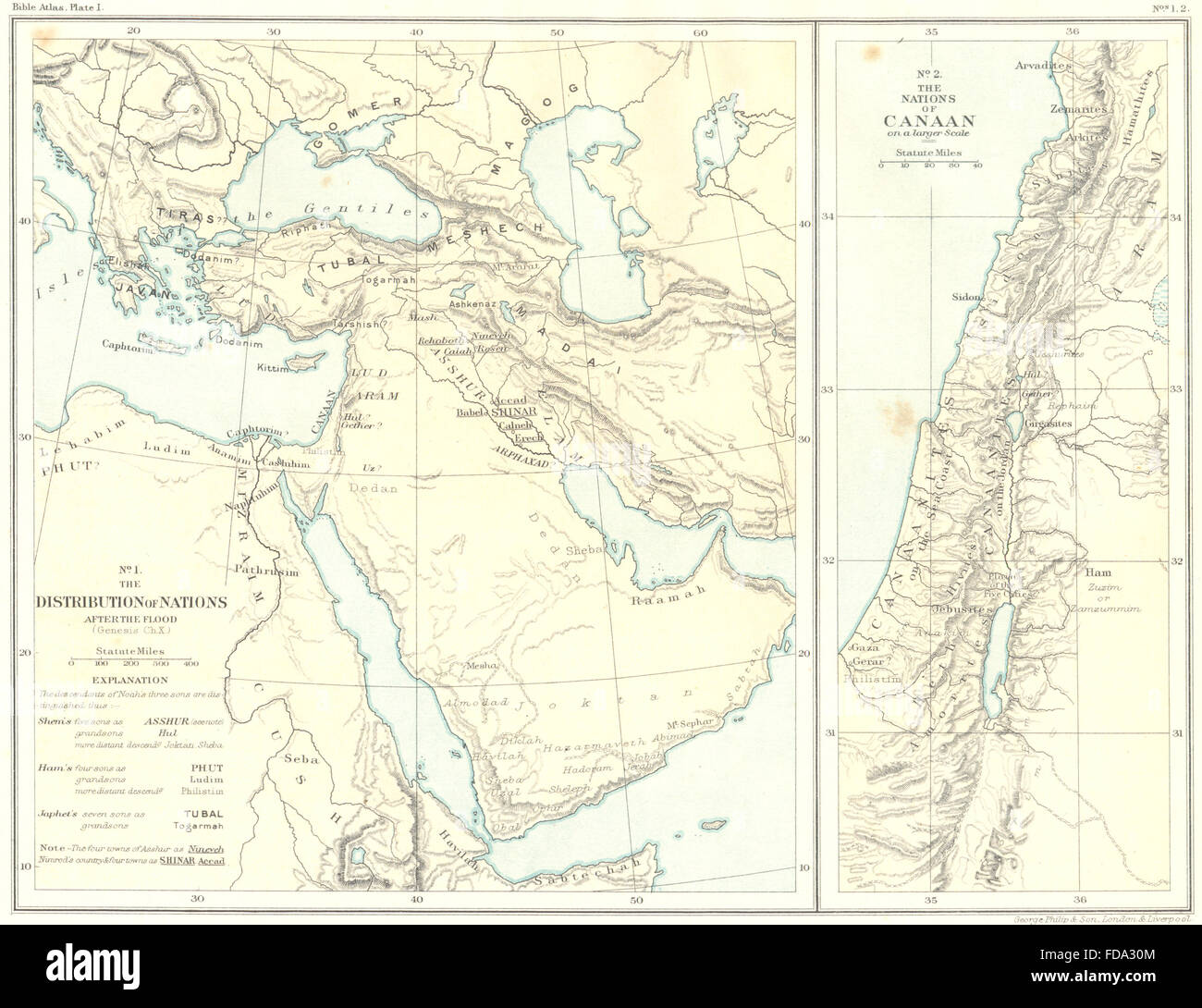 MIDDLE EAST Nations post Flood of Canaan 1900 antique map Stock