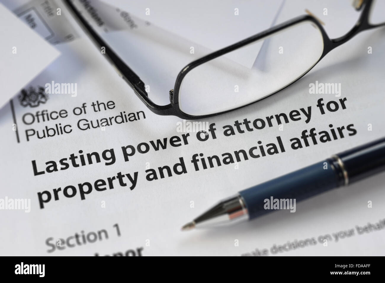 Lasting power of attorney form with spectacles pen re property stock lasting power of attorney form with spectacles pen re property financial affairs leaving a will wills legacy testament death uk falaconquin