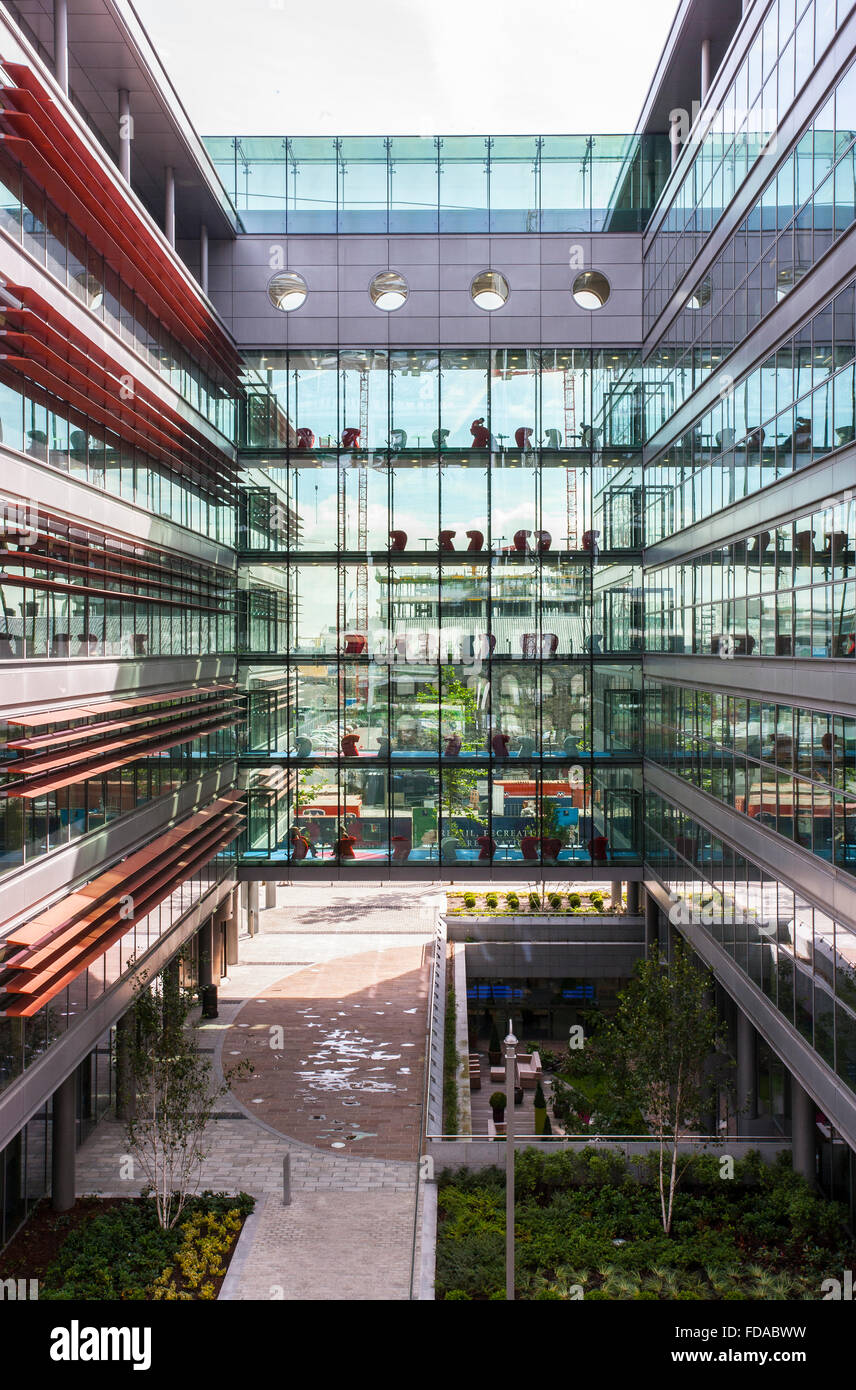 Curtain Wall Atrium : Glass wall walled office block building atrium uk stock