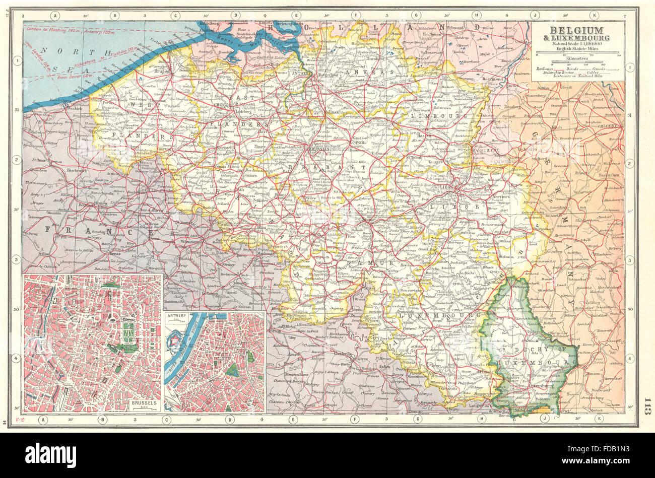 BELGIUM LUXEMBOURG Railways canals Inset Brussels Antwerp
