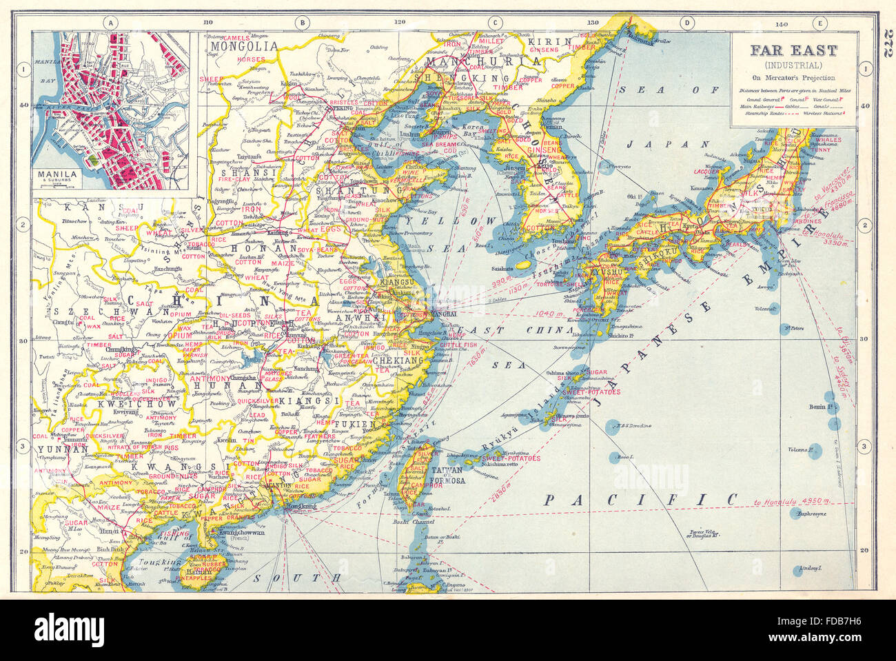 EAST ASIA AGRICULTURALMINERAL PRODUCTSChina Japan KoreaManila - Japan map 1920