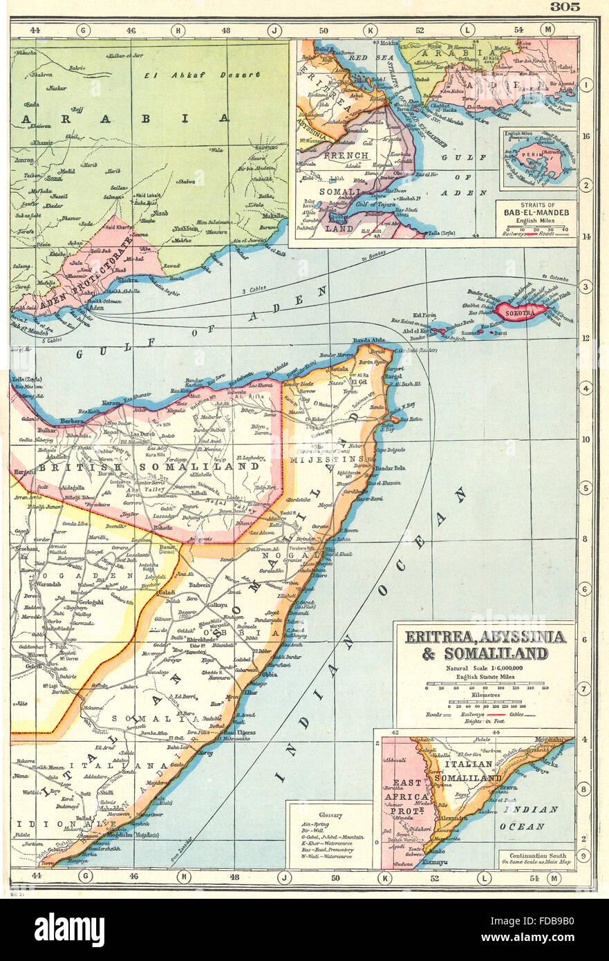 HORN OF AFRICA Somaliland Aden Djibouti Yemen Straits Stock - Horn of africa map