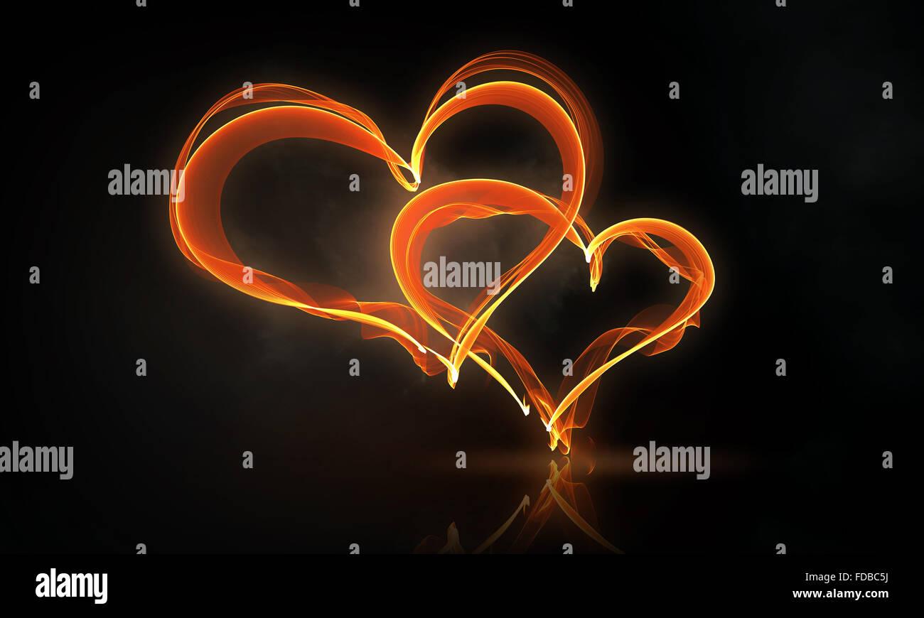 Glowing love hearts symbols on dark background stock photo glowing love hearts symbols on dark background biocorpaavc