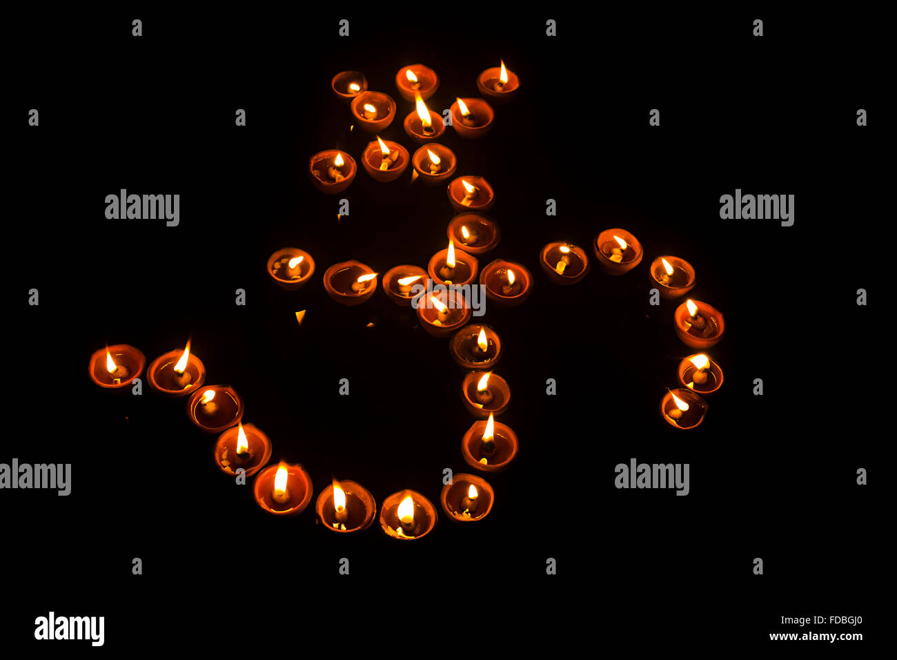 Indian Festival Decoration Indian Festival Diwali Diya Om Decoration Nobody Stock Photo
