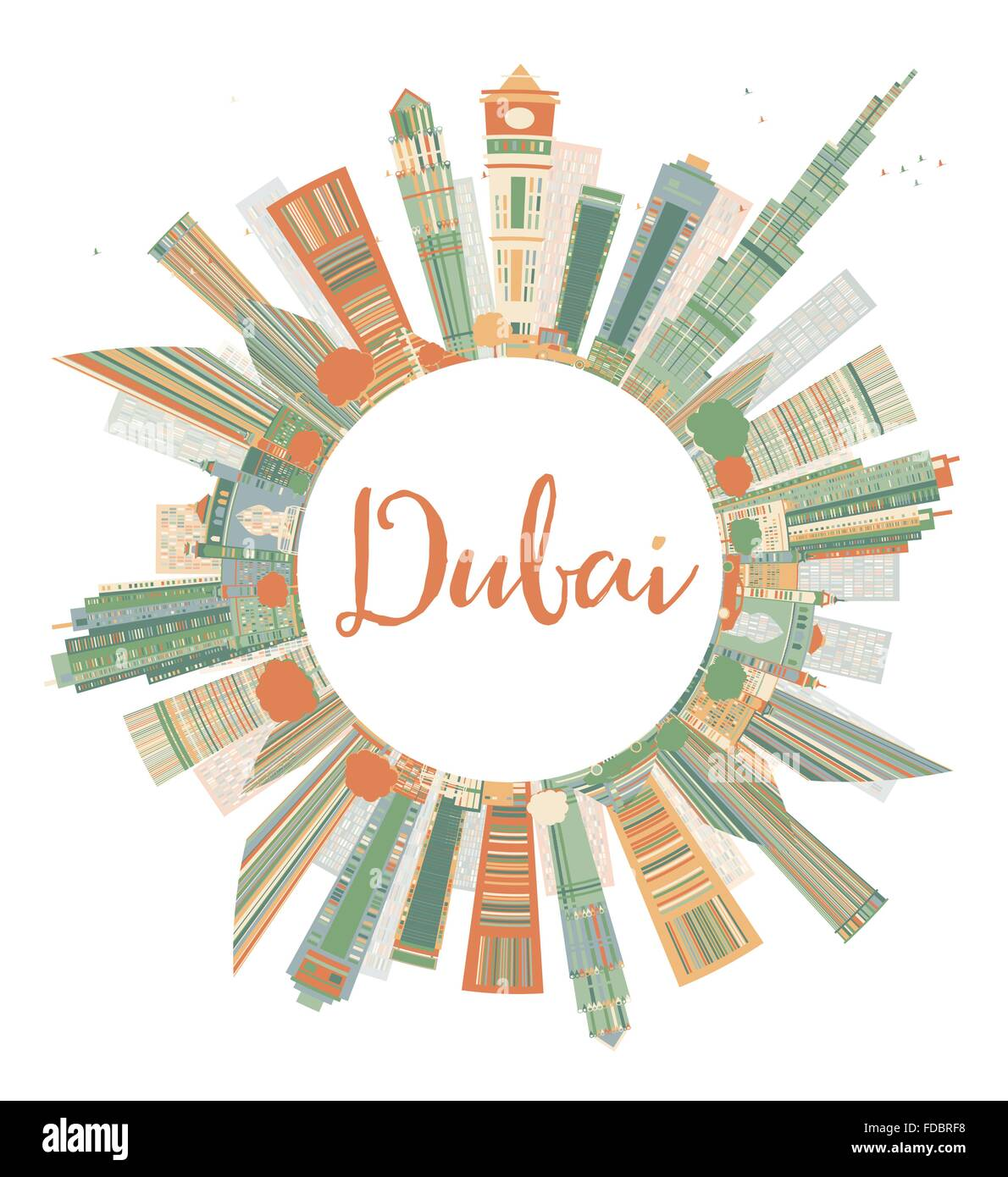 Color art dubai - Abstract Dubai City Skyline With Color Skyscrapers And Copy Space Vector Illustration Business Travel