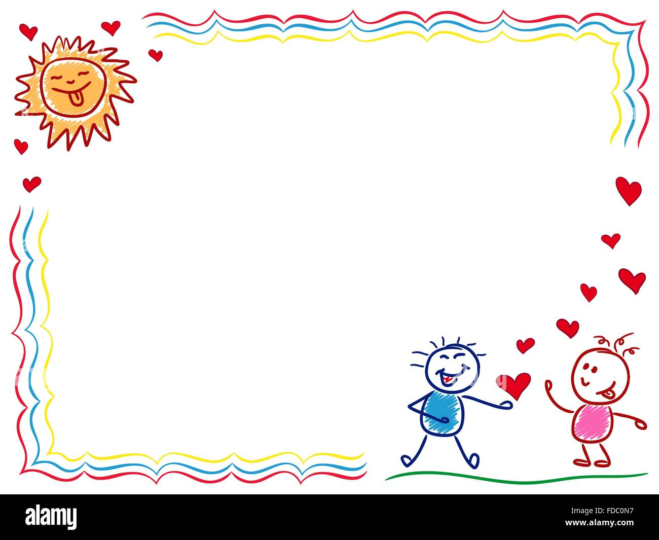 Boy in love gives a heart to a girl, hand drawing vector cartoon ...