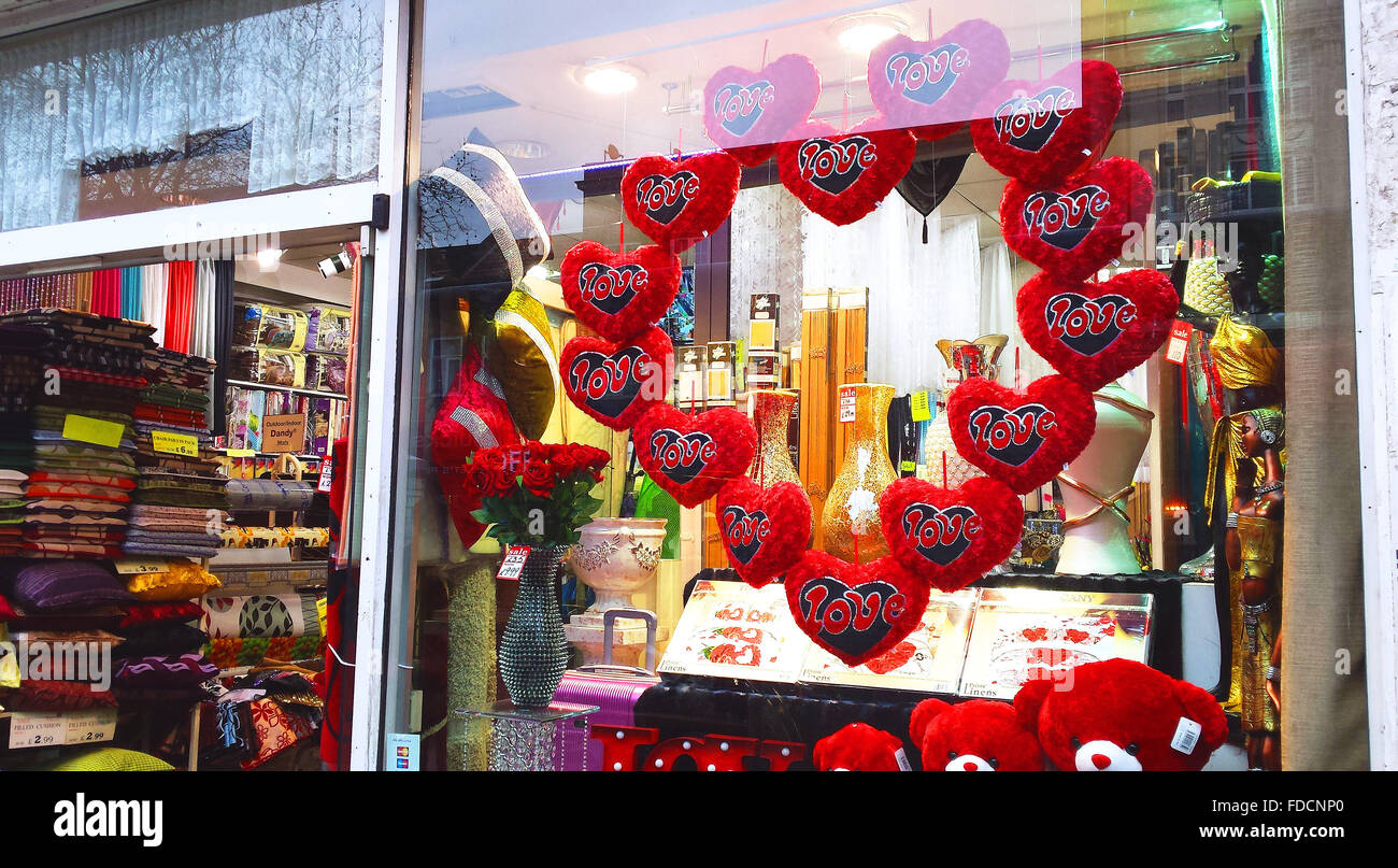 a shop window display in north london decorates with valentines, Ideas