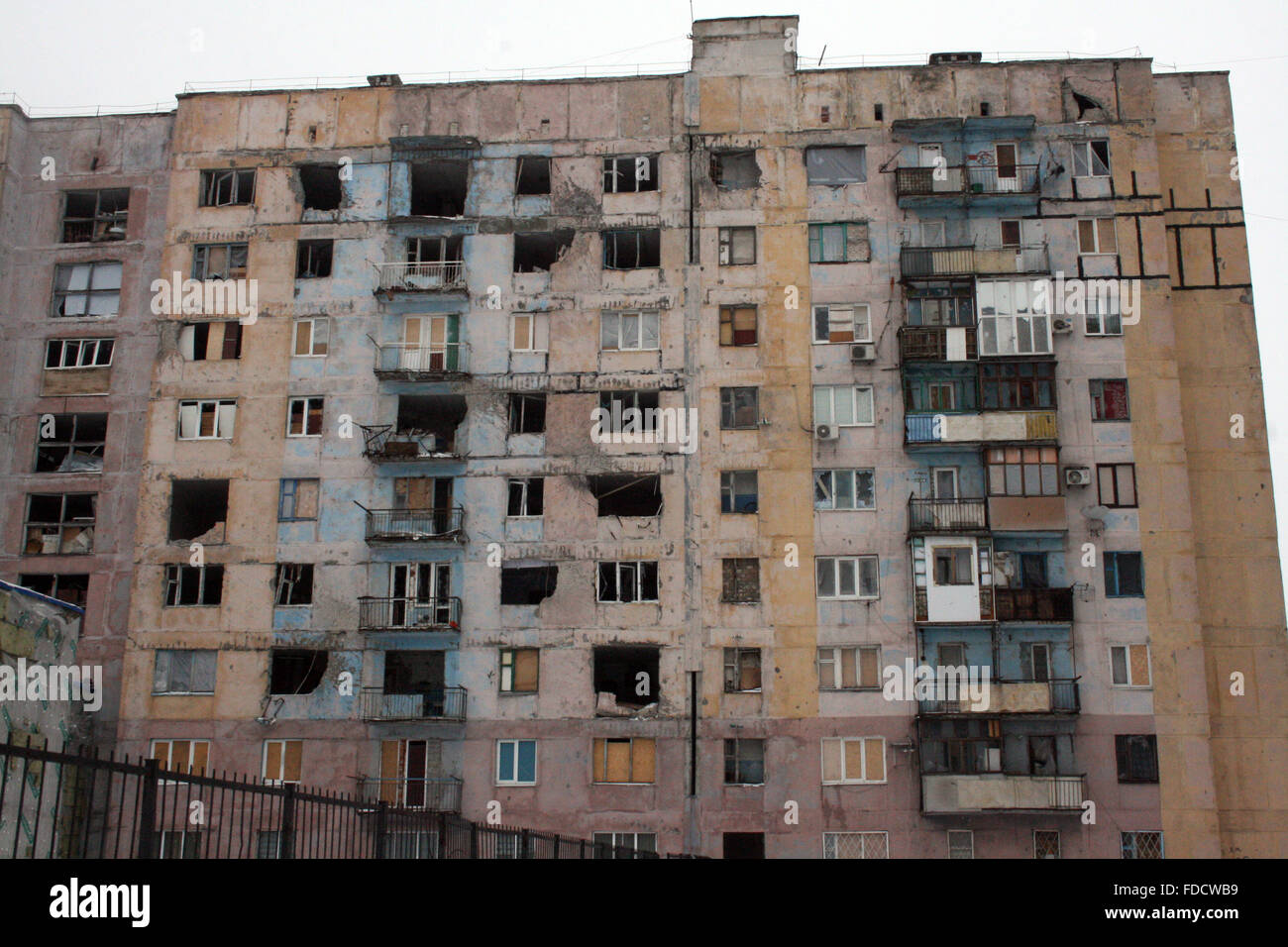 Apartment Building Front a destroyed apartment building in avdiivka, ukraine 28 january 206