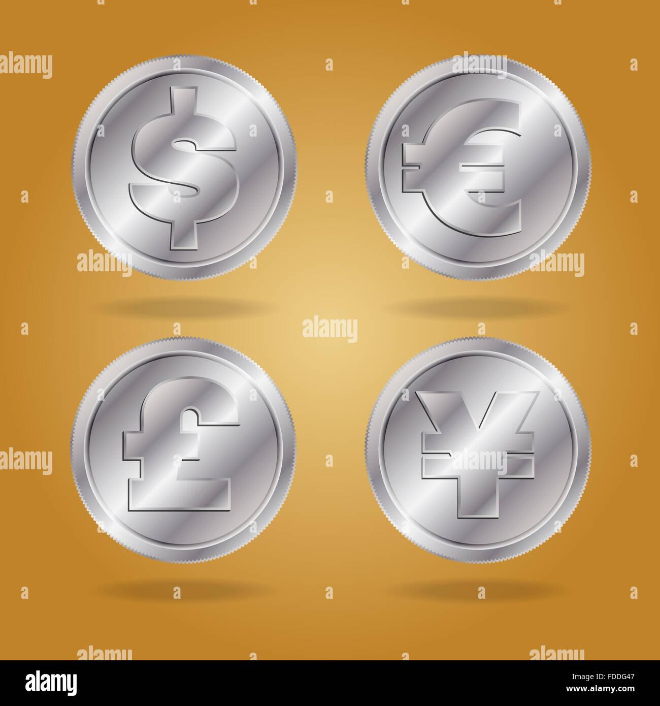Symbols of various currencies dollar euro pound and yen or yuan symbols of various currencies dollar euro pound and yen or yuan on silver coins biocorpaavc