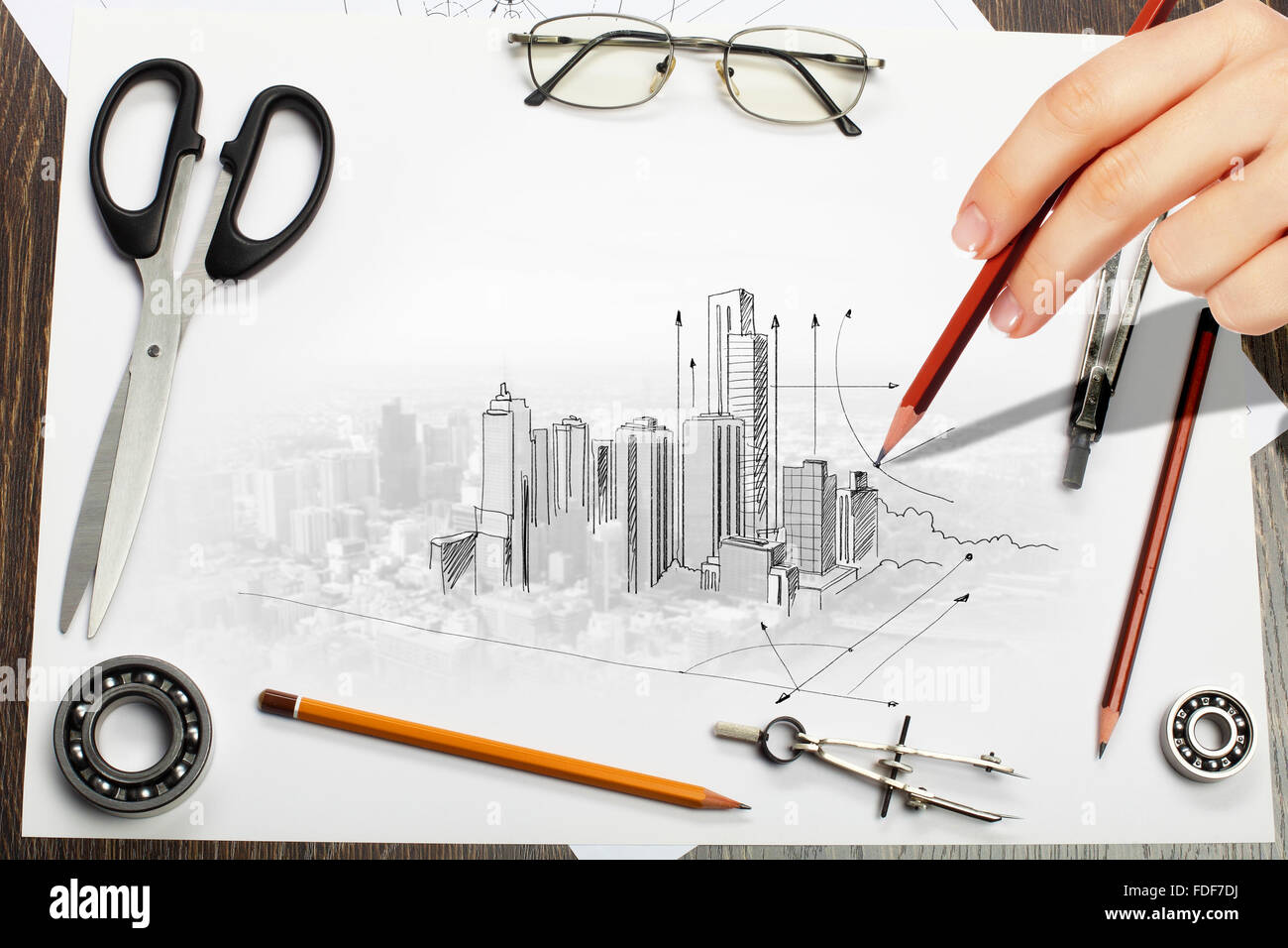 Architectural hand drawn project with set of tools stock for Architecture design tools free