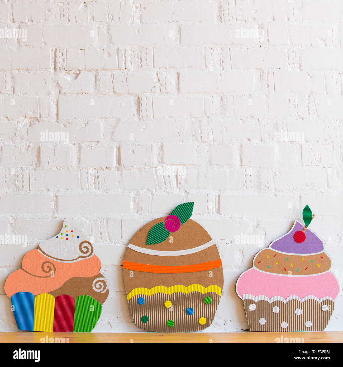 colored cakes handmade of cardboar Stock Photo Royalty Free Image
