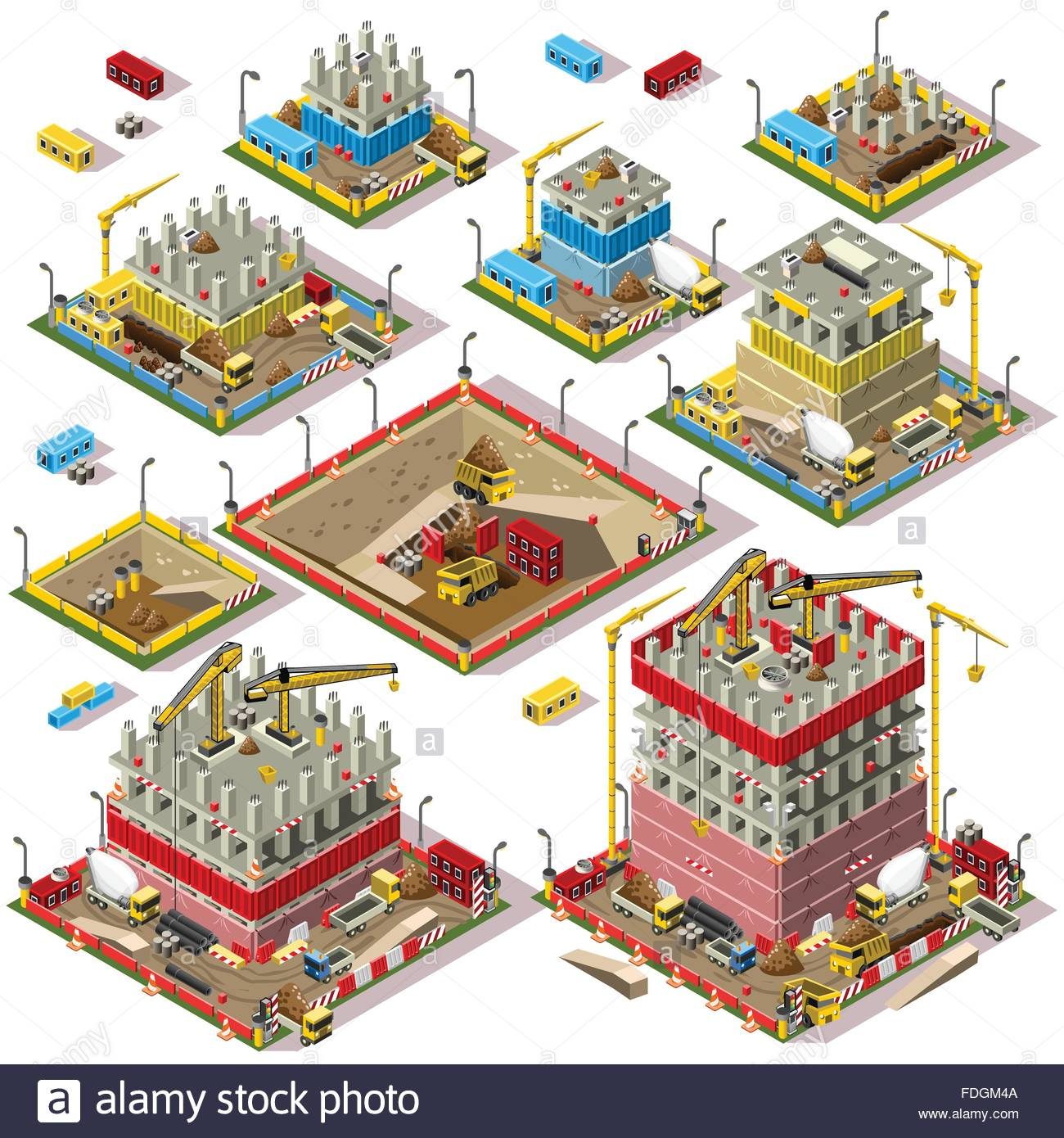 Flat 3d isometric buildings construction site city map 3d drawing website