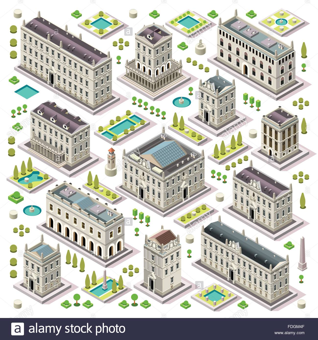 Flat 3d Set Of The Isometric Town Buildings City Map