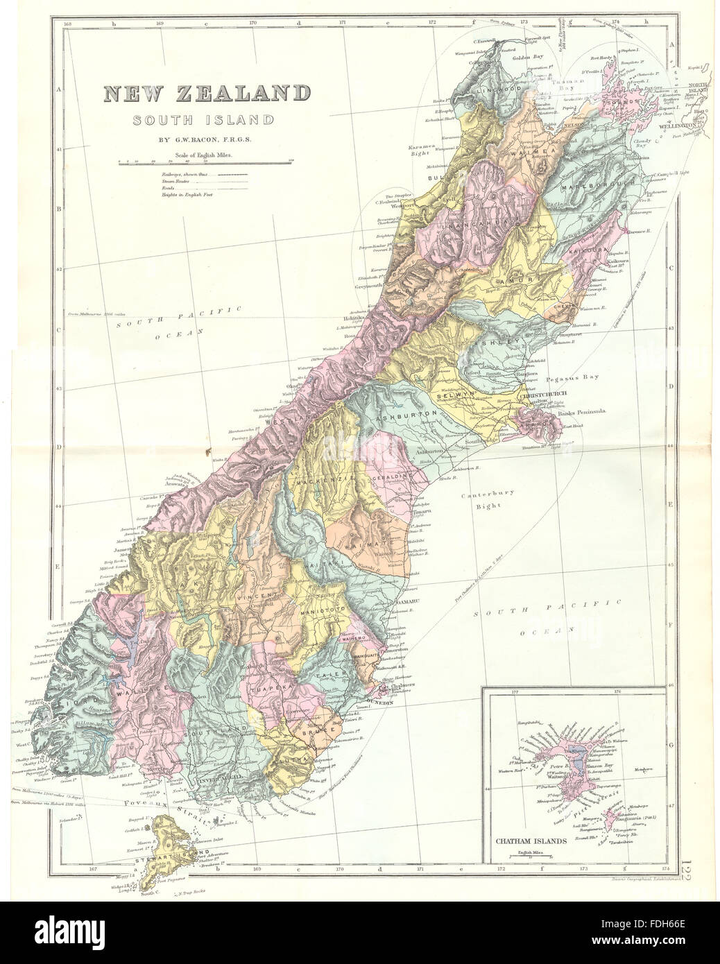 NEW ZEALAND New Zealand South Island Inset map of Chatham