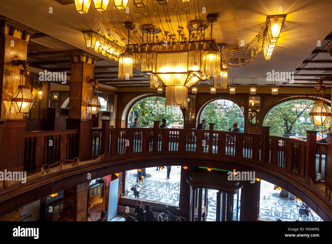 art nouveau interior of the grand hotel evropa standing on wenceslas stock photo royalty free. Black Bedroom Furniture Sets. Home Design Ideas