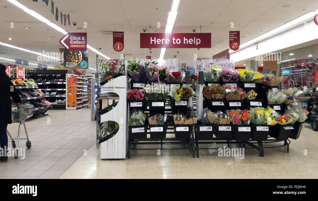 Inside of a Sainsburys supermarket store in London, UK ...