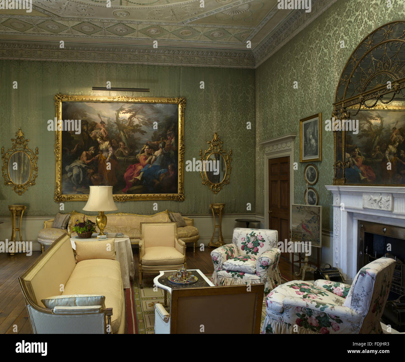 The Green Drawing Room At Basildon Park Berkshire Damask On