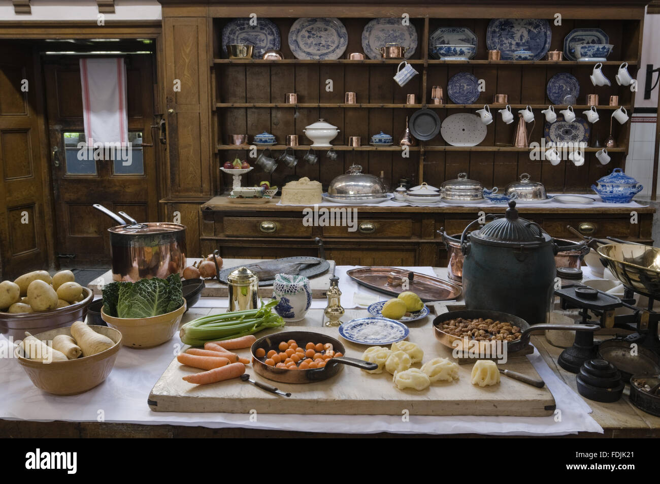 Kitchen Table With Food food being prepared on the kitchen table at lanhydrock, cornwall