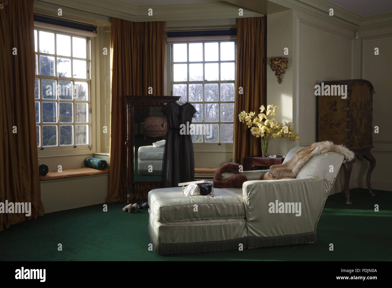 Lady Bedroom The Recliner And Full Length Mirror Draped With Furs And A Dress
