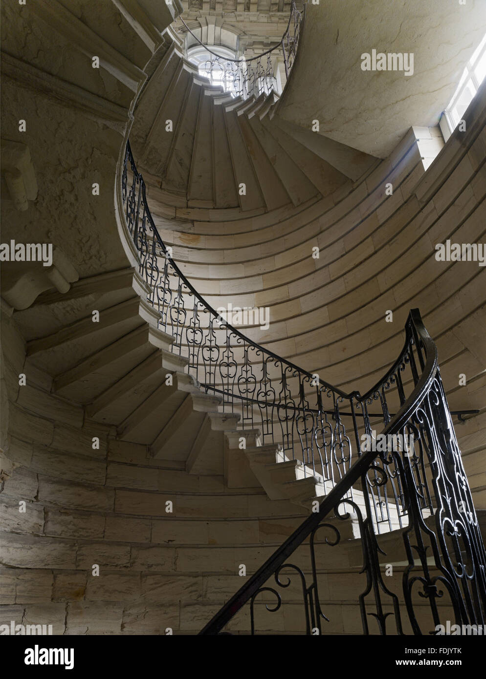 Stone spiral staircase at seaton delaval hall for Square spiral staircase plans hall