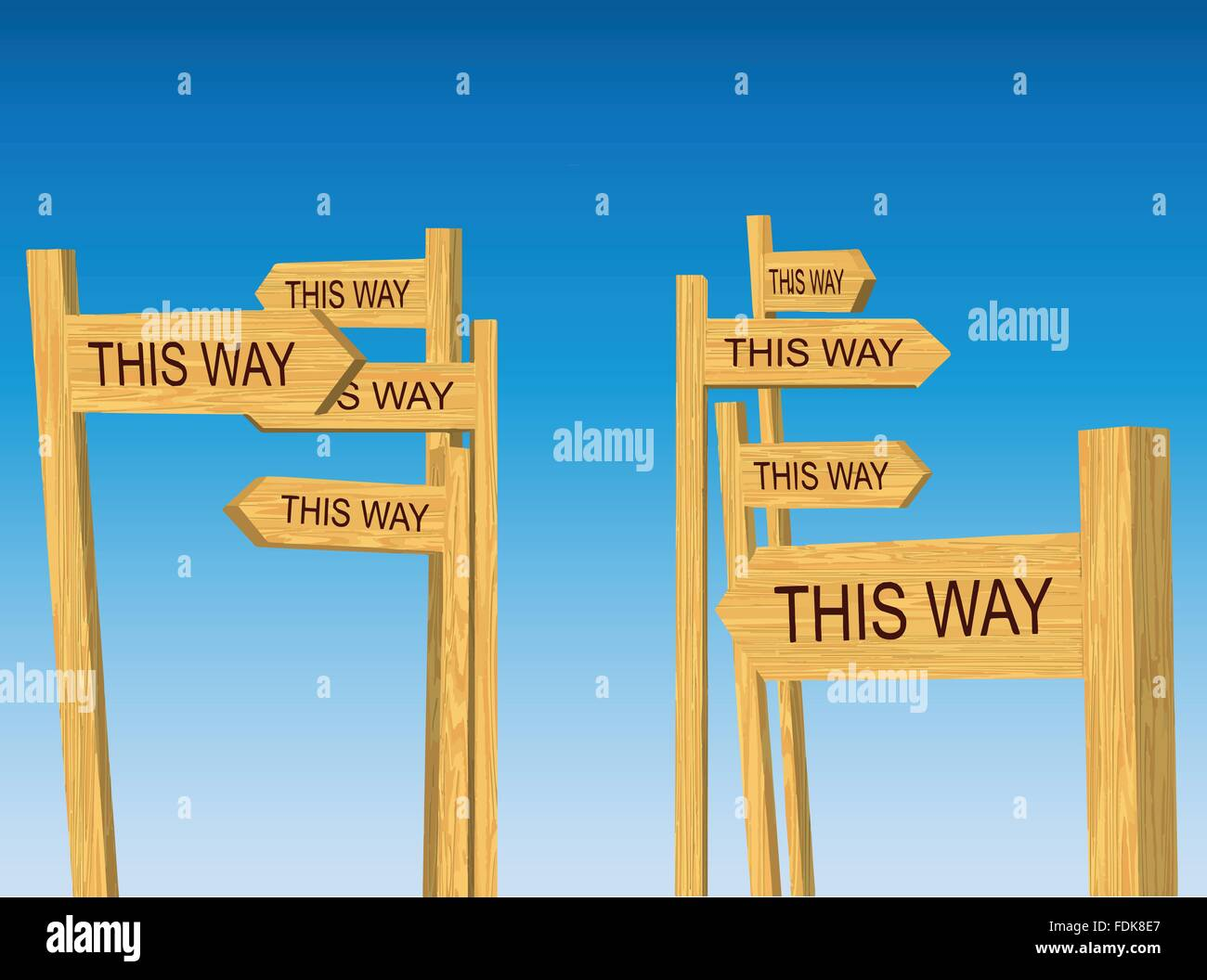 confusing conflicting directions road signs vector stock