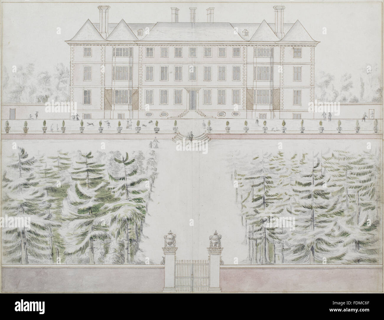 A drawing of the south side of ham house in elevation attributed to john slezer
