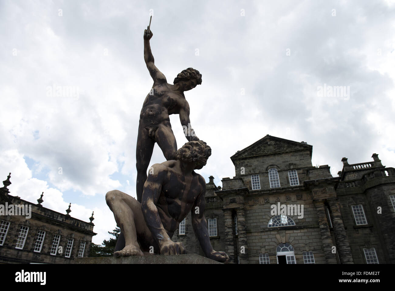 statue of david and goliath at seaton delaval hall northumberland