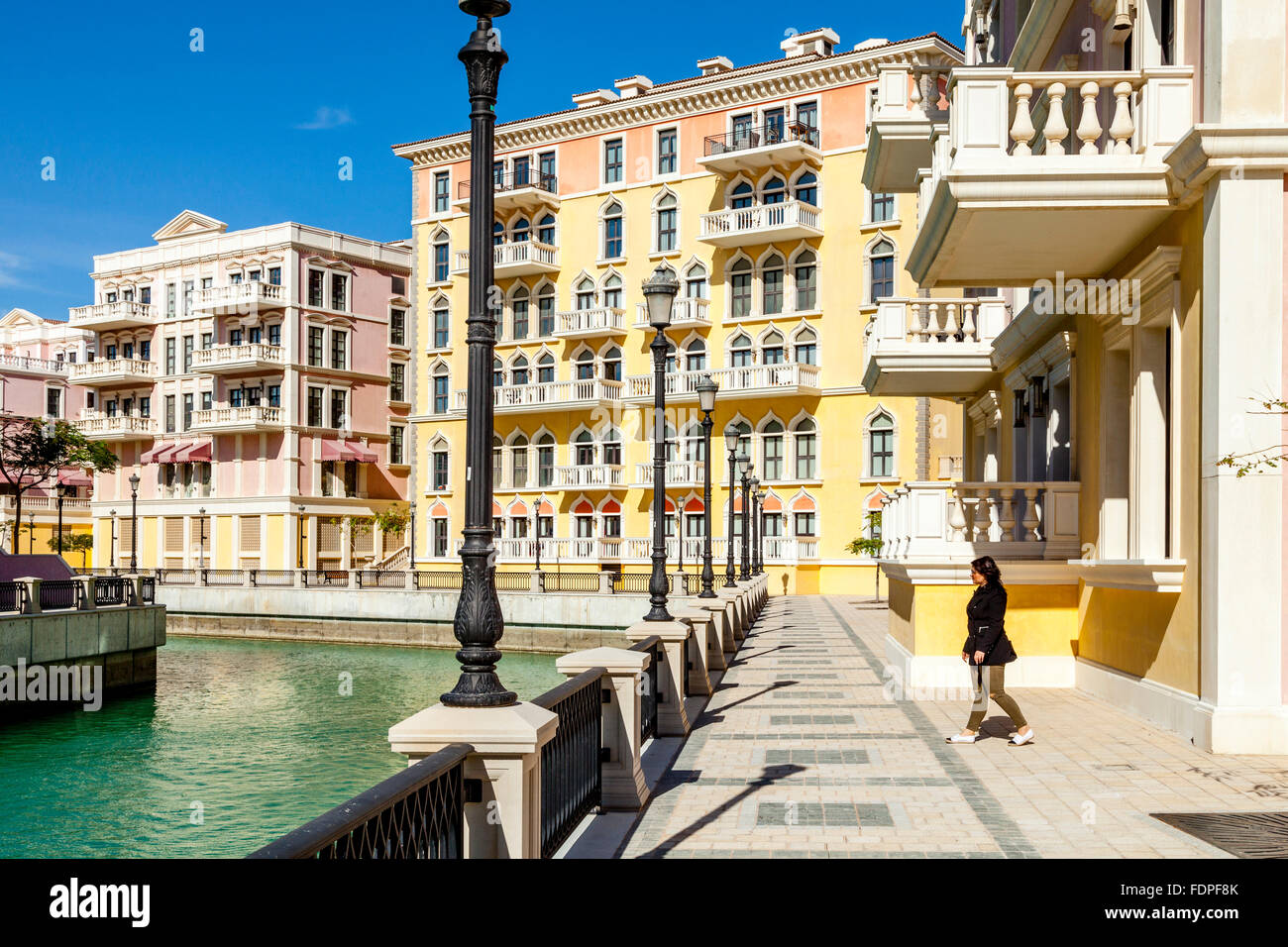 Colourful Venetian Style Houses At Qanat Quartier The Pearl Doha Stock Photo 94537315 Alamy