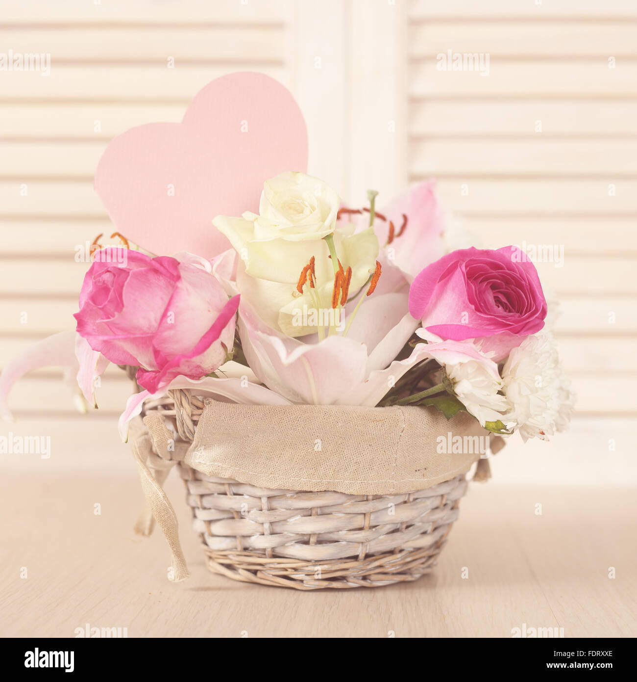 Beautiful flower composition in basket valentines day gift stock beautiful flower composition in basket valentines day gift izmirmasajfo Images