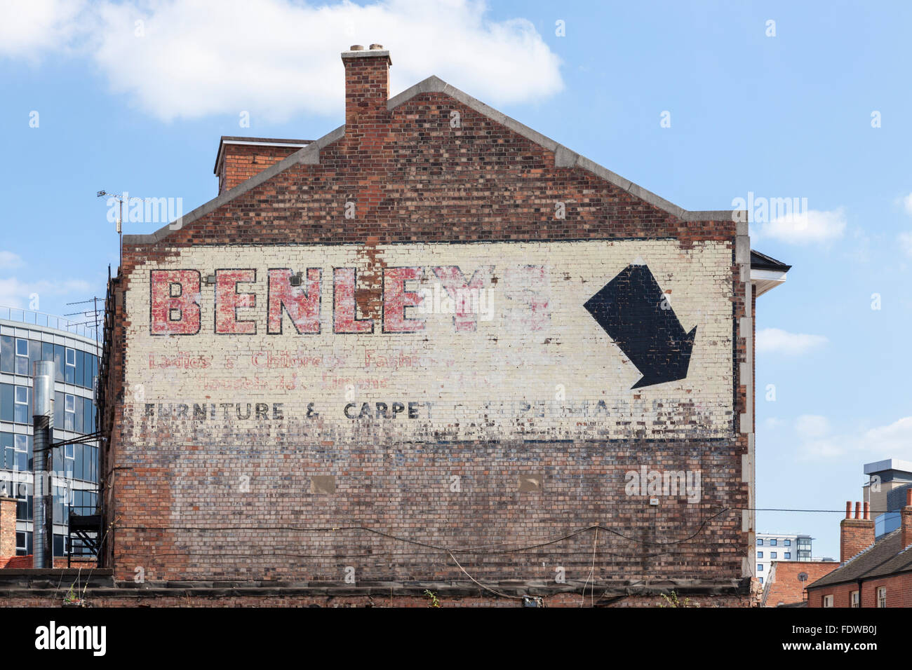 Advert Painted On The Side Of An Old Brick Building Nottingham England UK