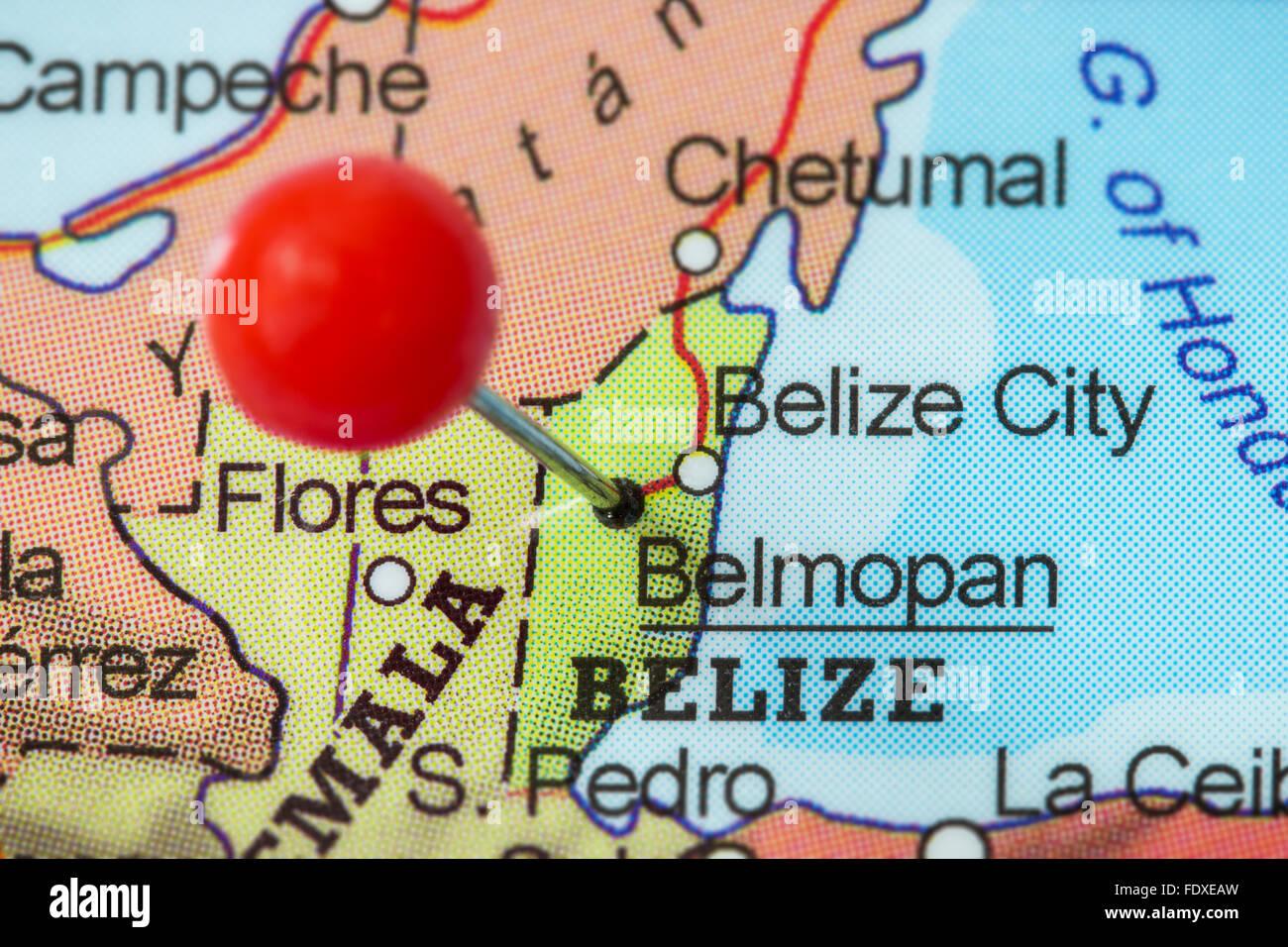 Closeup Of A Red Pushpin In A Map Of Belmopan Belize Stock Photo - Belize map belmopan