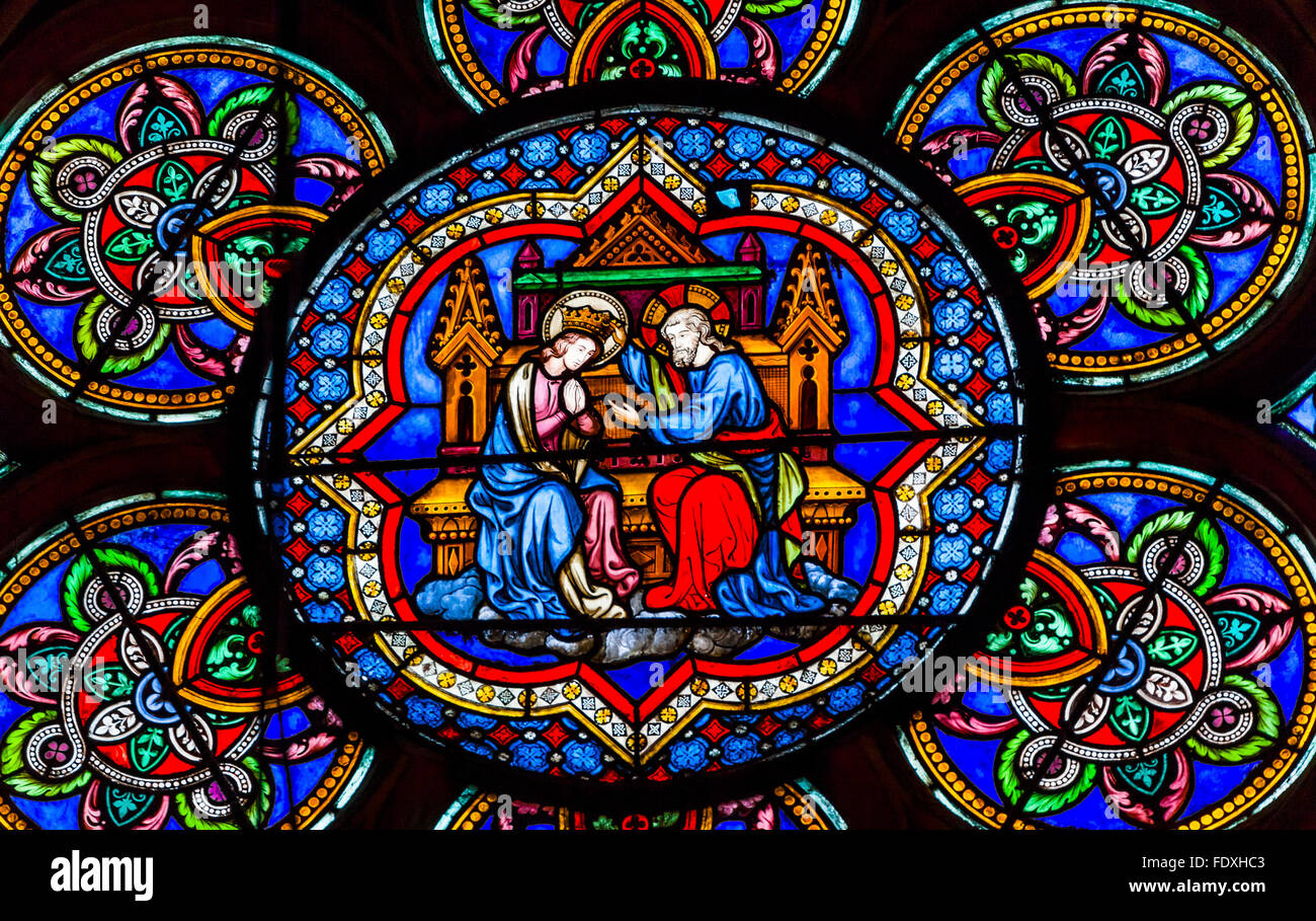 Virgin Mary Jesus Christ Stained Glass Notre Dame