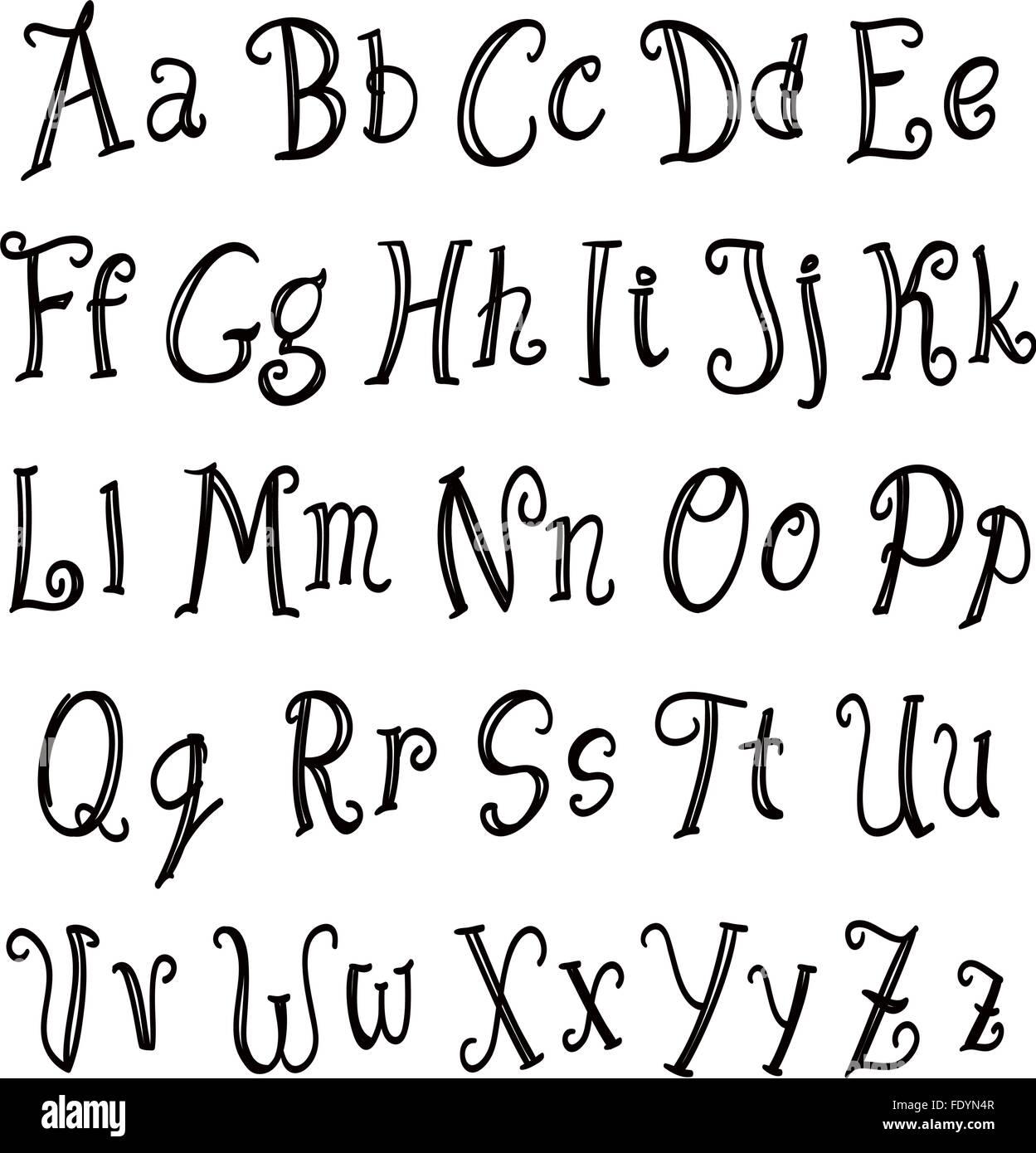Hand lettering alphabet set black on white vector stock