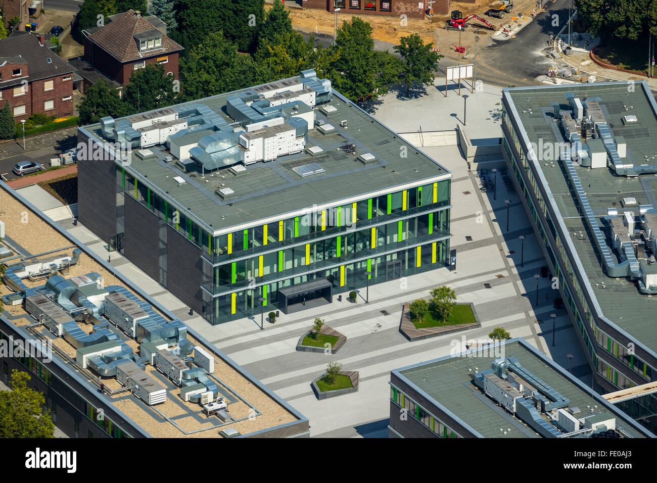 Aerial view, campus of the Rhine-Waal University, Kamp-Lintfort ...