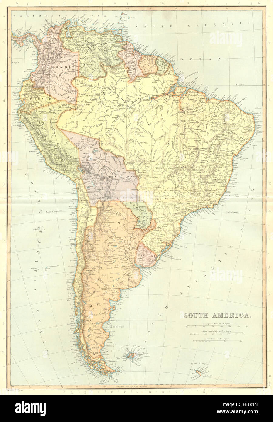 SOUTH AMERICA Brazil Argentina ChileScale Spanish Stock Photo - South america map in spanish