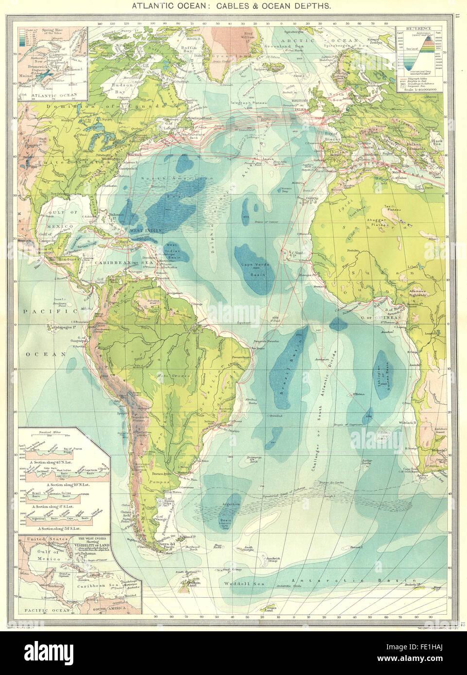 ATLANTIC OCEAN Cables Depths Spring Tide West Indies Vis Land - Ocean maps with depths