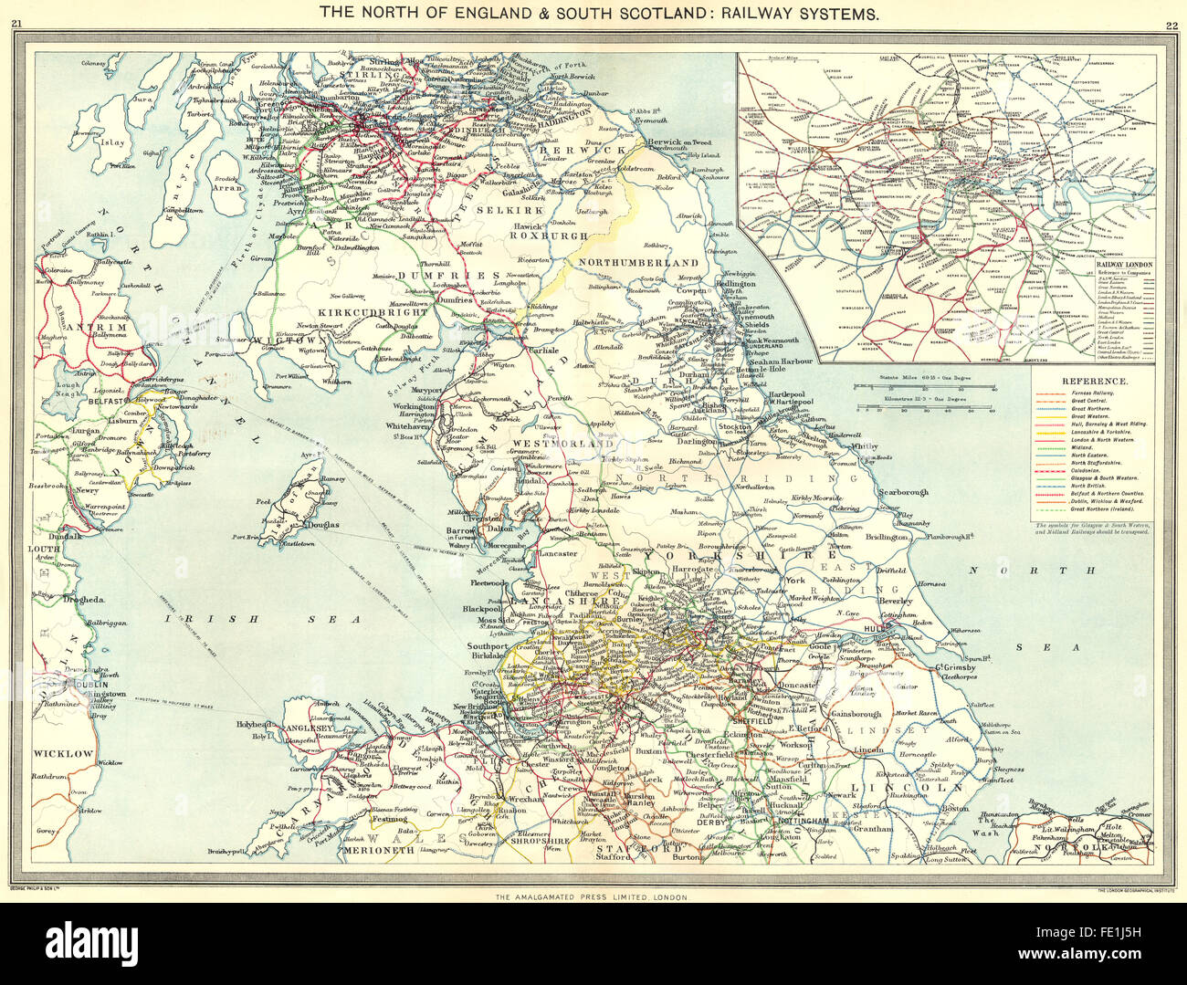 UK North of England south Scotland Railway Systems map London