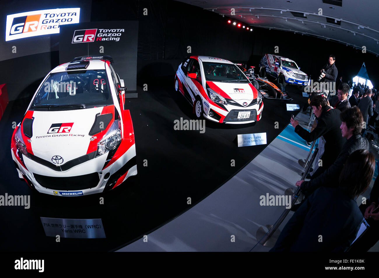 Tokyo, Japan. 04th Feb, 2016. Toyota race cars on display during a ...
