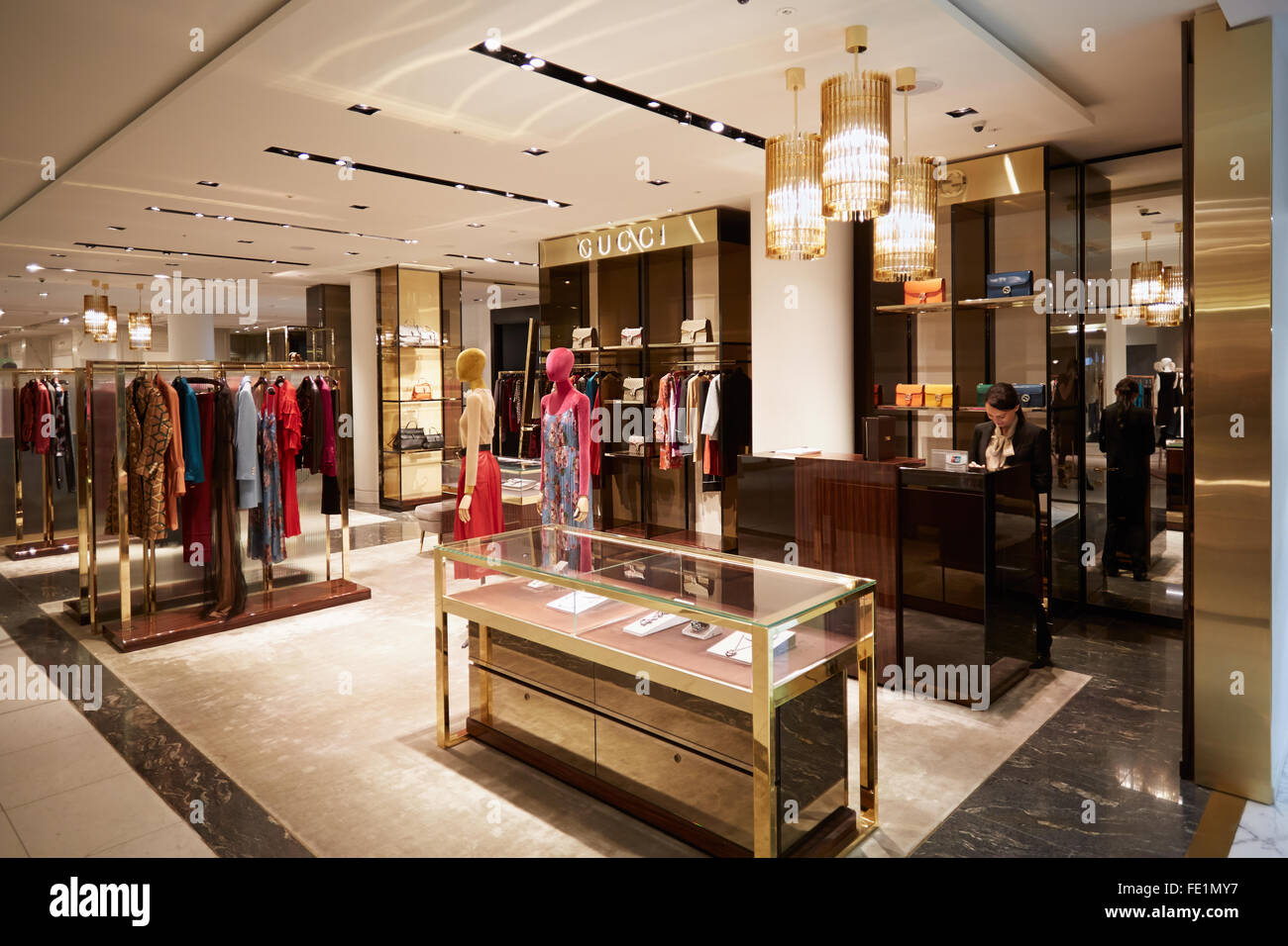 Selfridges department store interior, Gucci shop in London ...