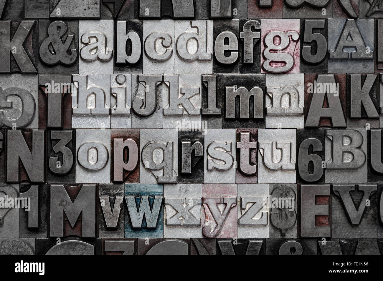 Lowercase Metal Wall Letters Letters From The Alphabet In Old Lowercase Metal Letterpress Stock
