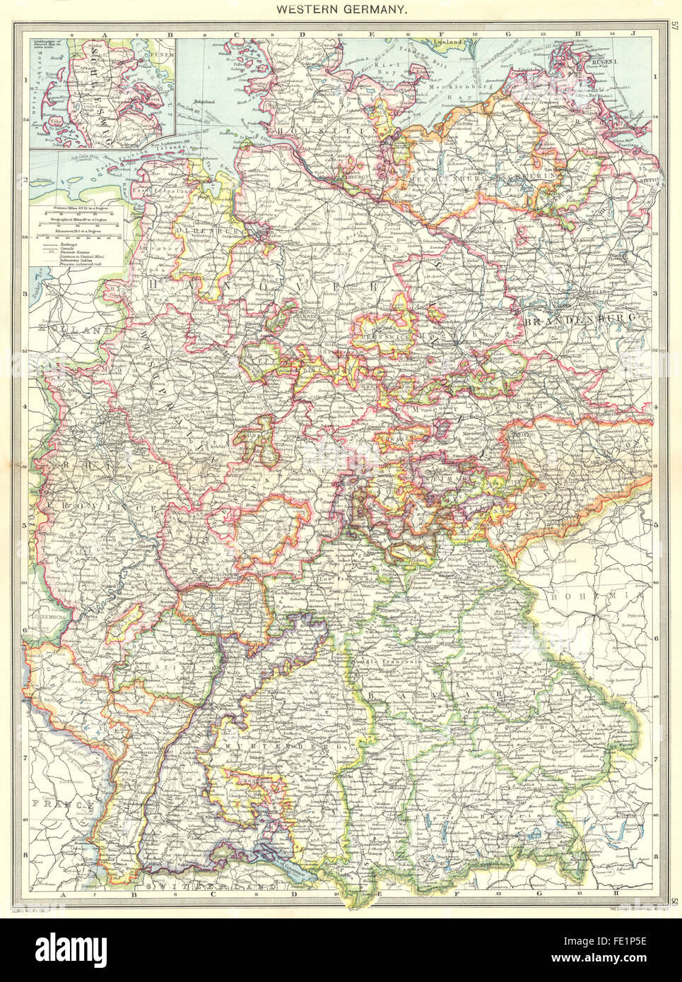 GERMANY Western Germany Inset map of Schleswig 1907 Stock Photo