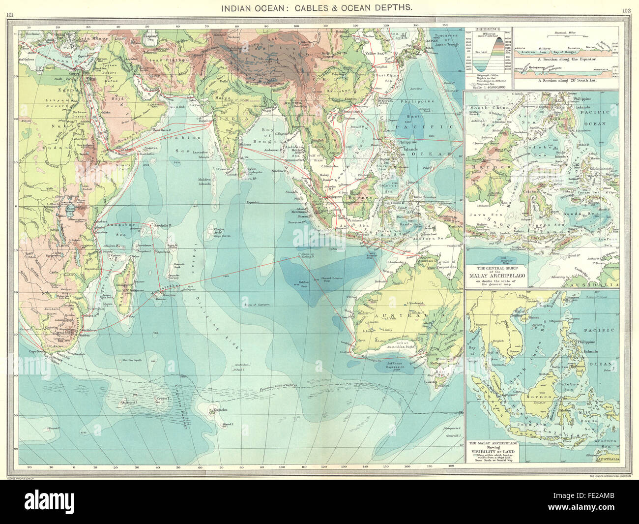 INDIAN OCEAN Cables Depths Malay Archipelago Antique Map - Ocean maps with depths