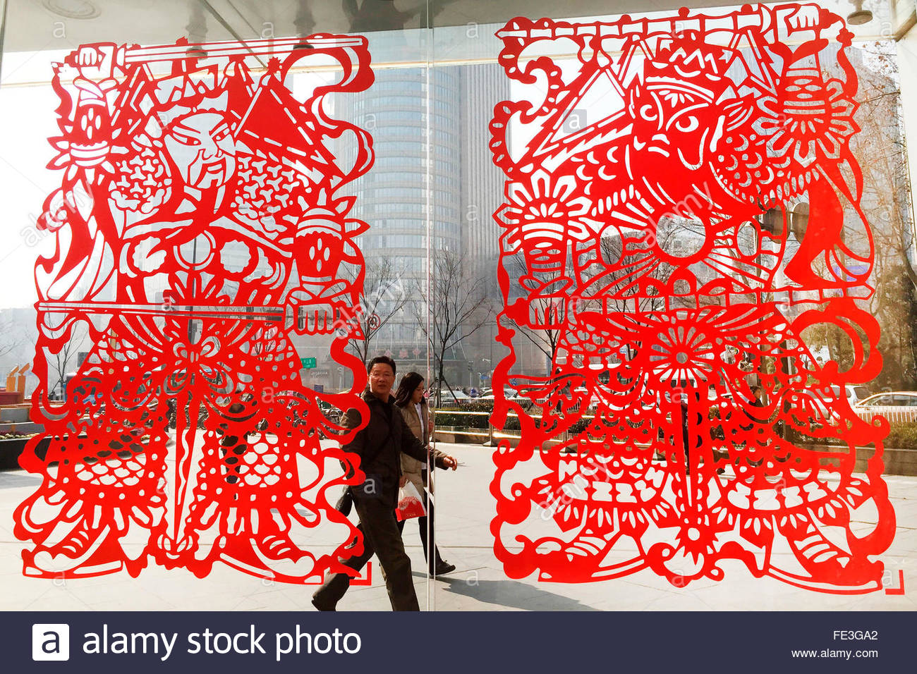 Deji Plaza paste the door-god of paper-cut for wolcoming the year of the monkey in Nanjing Jiangsu China on 3rd February 2016 & Deji Plaza paste the door-god of paper-cut for wolcoming the year of ...