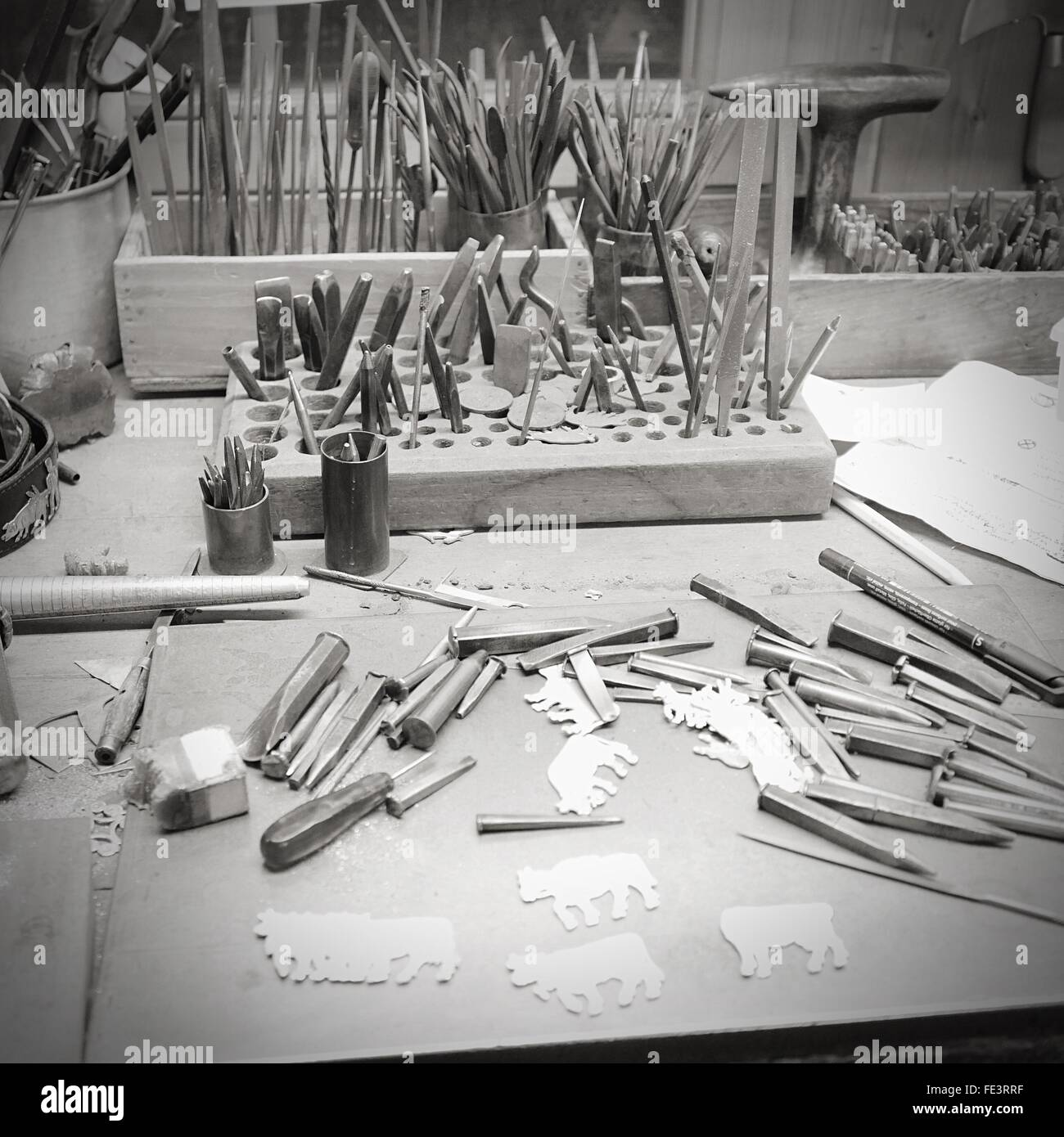 Stock Photo   Work Tools For Sculpting On Table
